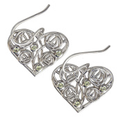 """Cairn 175 Silver Rennie . Heart Earrings - """"Homeland"""" Set With Peridots. Tarnish Resistant. British Made. Rennie . Jewellery."""