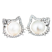 findout ladies sterling silver freshwater pearls Cubic Zircons hello kitty cat love fashion earrings , for women girls children.