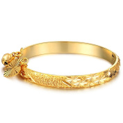 Fate Love Jewellery Children's 18K Gold Plated Cuff Bracelets Bangle with Heart and Bell Pendant