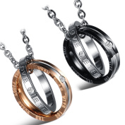 """Cupimatch 2 Piece Stainless Steel CZ """"Eternal Love"""" Interlocking Double Ring Pendant Couples Necklaces Gifts with 22"""" 18"""" Chain"""