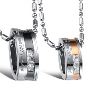 """Cupimatch Stainless Steel Men Women """"Love You Till the End"""" Ring Pendant Necklace Chain for Lovers Couples"""