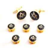 Gold & Black Enamelled Masonic Cufflinks & 5 Button Stud Set