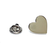 Rhodium Plated Heart Shaped Lapel Pin Badge Gifts For Him
