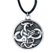 Gotland Serpent Charm - For Knowledge - Courtney Davis Celtic Pendant Necklace Collection - Lead Free British Pewter on black leather thong and supplied with a satin drawstring presentation pouch