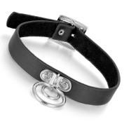 Cupimatch Gothic Style Circular Rings Pu Leather Collar Choker Necklace Adjustable Buckle, 37cm - 41cm