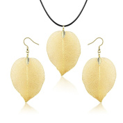 Women Golden Natural Leaf Leather Necklace Earring Ethnic Jewellery Set Party Wear Perfect Gift For Women Girl