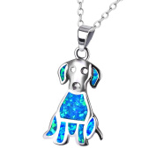 KELITCH Pet Dog Pendant Created Opal Necklace 925 Sterling Silver for Women/Girls