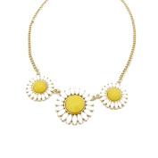 Vincenza Fashion Ladies Yellow Flower Rhinestone Colourful Statement Necklace