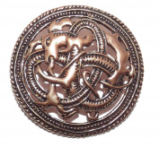 Large Round Viking Celtic Bronze Dragon Beast Pin Cloak Brooch