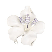 Merdia Brooch Pin for Women Flowers Brooch with Created Crystal White 29.8g