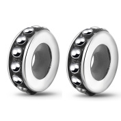 2PCS Round Stopper Charms 925 Sterling Silver with Rubber Ring Stopper Beads fit 3mm Bracelet Necklace
