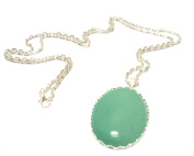 Vintage Style Large Oval Green Aventurine Pendant on Long Silver Chain Necklace