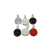 24pcs Fashion Silver Epoxy Mixed Colour Watch Face Clock Charms Pendants For Jewellery Making