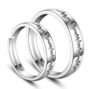 Sweetiee 925 Sterling Silver Couple Rings with Heartbeat Platinum Size:O-Q(Adjustable) for Lovers