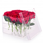 Wefond Clear Acrylic Flower Box Water Holder Vase Decorative Square Rose Pot Wedding Flower Gift Box Makeup Organiser