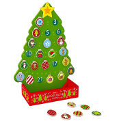 Pidoko Kids Countdown To Christmas Advent Calendar Tree - Wooden Toy Set with Magnetic Ornaments and a Shining Star