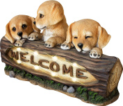 Welcome Garden Statue with Solar Powered LED Lights, 38cm Puppy Dog Decor for Outdoor Garden Yard