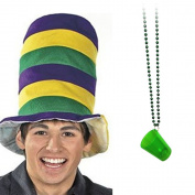 Mardi Gras Felt Stovepipe Hat + Shot Glass Bead Necklace