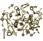 40Pcs Antique Bronze Vintage Skeleton Keys Charms DIY Kits for Handmade Accessories Necklace Pendants Jewellery Making
