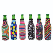Beer Bottle Koozie Set of 6 Fun Trendy Design 3mm Neoprene Zipper Sleeve Fully Stitched Insulated Beer Bottle Covers
