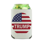 President Trump American Flag Can Cooler - Drink Sleeve Hugger Collapsible Insulator - Beverage Insulated Holder