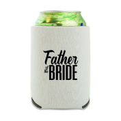 Father of the Bride Wedding Can Cooler - Drink Sleeve Hugger Collapsible Insulator - Beverage Insulated Holder