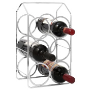 6-Bottle Modern Design Chrome Plated Metal Wine Storage Rack with Handle