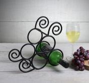 Store Indya, Handmade Wrought Iron Wine Rack 3-Bottle Countertop Wine Bottle Holder Stand Store Indya