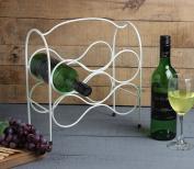Store Indya, Store Indya Handmade Wrought Iron Wine Rack Bottle Holder 6-Bottle Countertop Wine Holder Stand White