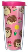 Hedgehog Poses Pattern 470ml Mug Tumbler Cup with Pink Lid