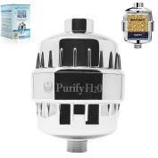 Shower Filter, PurifyH2O SH-FT-100 Chrome with Two(2) Replaceable Cartridges- Purifies Shower Water to Eliminate Chlorine and Hard Water to Promote Healthy Hair, Skin, and Body