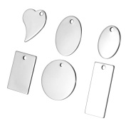 30pcs Silver Tone Stainless Steel Blank Stamping Tags Mixed Shape Charm Pendants 24x17mm 3.8x1.6cm