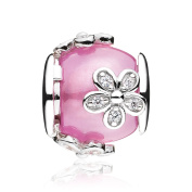 ATHENAIE 925 Sterling Silver with Pink Clear CZ Dazzling Daisies Bead Charms
