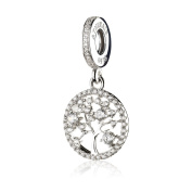 ATHENAIE 925 Sterling Silver with Pave Clear CZ Family Heritage Pendant Drops Charms