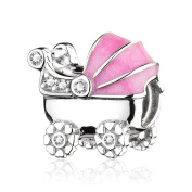 ATHENAIE 925 Sterling Silver with Clear CZ Pink Enamel Baby's Pram Bead Charms