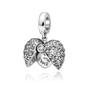 I Love You to the Moon and Back Heart Charm Solid 925 Sterling Silver Angle Wing Crystal Dangle Charms Pendants