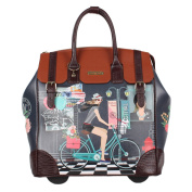 Nicole Lee Exclusive Bike Tour Print Rolling Business Tote, Laptop Compartment, Wheeled Travel Tote