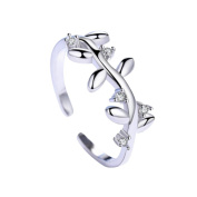 Youkara Fashion Leaf Opening Adjustable Ring For Women Girls Present for Women Wedding