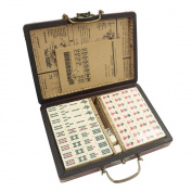 New Chinese 144 Mah-Jong Set Bamboo Portable Retro Mahjong Box Rare Game UK