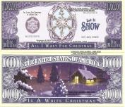 Novelty Dollar White Christmas Snow Flake Million Dollar Bills X 4 New