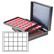 Lindner 2365-2120E Coin case NERA XL with 3 trays and light red coin inserts with 60 rectangular compartments for coins/coin capsules up to Ø 47 mm