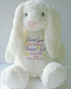 Personalised Flower Girl Embroidered Zippie Bunny Rabbit, Personalised soft toy teddy, Thank you keepsake Flower Girl