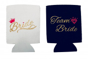 Party Pack Team Bride Bachelorette Stubby Can Cooler With Gold Sparkle Lettering - 11 PCS