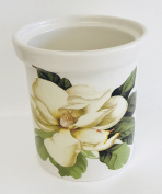 Made In Italy |Beautiful White Magnolia on White Ceramic Wine Bucket | Utensil Holder | 14cm x 15cm tall