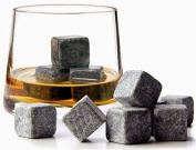Robertgle (9pc Set) 100% Natural Whiskey Stones Sipping Ice Cube Whisky Stone Whisky Rock Cooler Wedding Gift Favour Christmas Bar