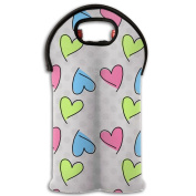 Wine Tote Carrier Bag Valentines's Day Heart Purse For Champagne,Water Bottles