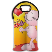 Wine Tote Carrier Bag Valentines's Day Love Cat Purse For Champagne,Water Bottles