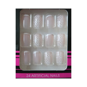 Clear Adhesive + False Nails – Pink White Floral French