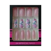 Sharp Edges + Adhesive False Nails – Pink Flowers