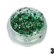 waga^life 1Pcs Amazing Charming Lighting Nail Colour Glitter Aluminium Flakes Magic Mirror Effect Powders Sequins Nail Green
